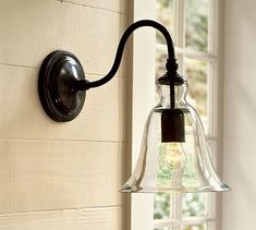 Rustic Glass Sconce, Pottery Barn, $99, stairwell