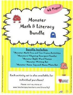 Monster Theme Math, Literacy, and More! Bundle Pack by NJF | TpT Kindergarten Readiness, Math Literacy, Kindergarten Teachers, Literacy Centers, Classroom Activities, Sight Word Games, Early Education, Word Families, Name Tags