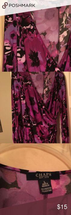 Chaps Purple Floral Long SLeeve Faux Dress Chaps Womens Large Purple Watercolor-Floral Long SLeeve Faux Wrap Dress ....wore just once! Chaps Dresses Long Sleeve