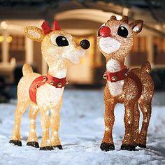 Pre-Lit Rudolph & Clarice Display Grandin Road