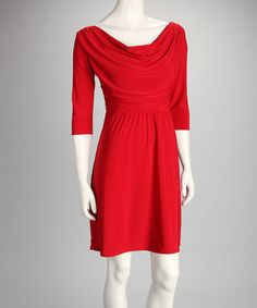 Take a look at this Red Drape Dress by Star Vixen on #zulily today!