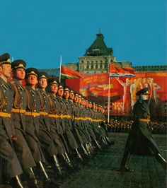 Staff officers and officer-scholars of Soviet military academies marching through Red Square in the 1982 Moscow October Revolution Day Parade.
