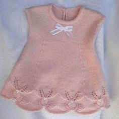 Lace baby jacket (knit with cr Knitting For Kids, Knitting Socks, Free Knitting, Easy Crochet Patterns, Baby Knitting Patterns, Baby Girl Dresses, Baby Dress, Yarn Shop, Baby Cardigan