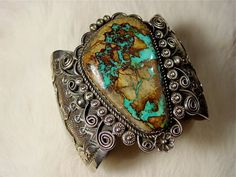 Vintage Cuff | Albert Cleveland (Navajo). Sterling silver and turquoise.