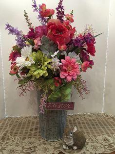 Easter Floral Arrangement, Spring Floral Arrangement, Wedding Centerpiece, Table Centerpiece, Farmhouse Floral, Galvanized Tin Floral by SheilasHomeCreations on Etsy