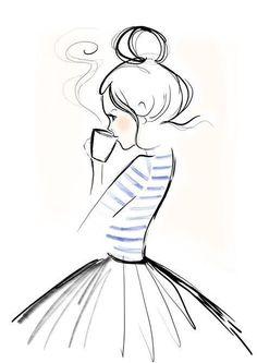 Mondaycoffee, Monday, Coffee, Kera Till, Illustration - l*art - Zeichnung Pencil Art Drawings, Easy Drawings, Art Sketches, Girl Drawings, Doodle Drawings, Girl Pencil Drawing, Simple Cartoon Drawings, Simple Doodles Drawings, Drawings Of Love