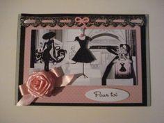 carte le petite robe noire , motif robe et flacon en 3D
