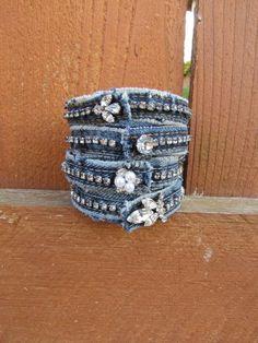 Recycled Denim Bracelet with Vintage Rhinestones - Diamonds and Denim via Etsy. Bracelet Denim, Cuff Bracelets, Jean Crafts, Denim Crafts, Jewelry Crafts, Handmade Jewelry, Denim And Diamonds, Denim And Lace, Blue Denim