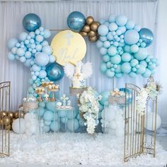 Noah's Christening, Heavenly Sent Theme. Fancy Baby Shower, Baby Shower Deco, Boy Baby Shower Themes, Baby Shower Balloons, Baby Boy Shower, Balloon Columns, Balloon Wall, Balloon Garland, Balloon Decorations