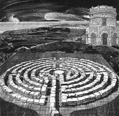 Labyrinth 28, 2007 etching, aquatint, soft-ground etching cm. 32x33 by Toni Pecoraro