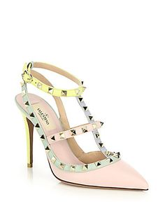 I just died and went to heaven! Valentino Rockstud Watercolor Colorblock Leather Pumps
