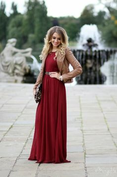 Beautiful Maroon Dress With Brown Cute Jacket And Purse