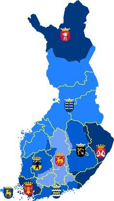 Historiska landskap i Finland – Wikipedia Helsinki, Finnish Language, Good Neighbor, Malm, Cartography, Europe, Country, Flags, Saunas