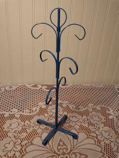 Vintage Blue Enameled Mug Tree - Six Cup Mug Stand  -  16-032 by BubbiesMemories on Etsy