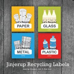 Free Printable - Recycling bin labels from Jinjerup.com.  All 4 are on 1 page.  I recommend printing these on the white full sheet label paper which is sticky.