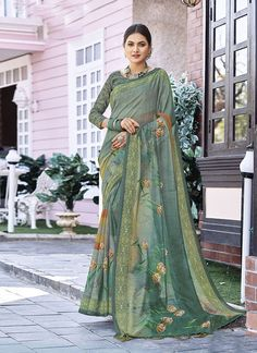 Sareetag Multicolor Latest Designer Linen Party Wear Saree – SareeTag Indian Sarees Online, Party Wear Sarees, Printed Blouse, Designer Collection, Indian Outfits, Silk Sarees, Floral Prints, Casual Saree, Diwali