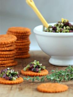 savory tomato thyme shortbread with olive gremolata