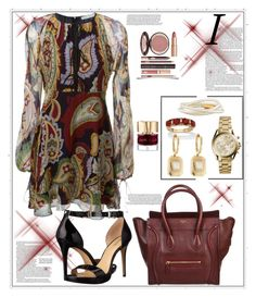 """""""Chloe Paisley Print Dress"""" by helenaymangual ❤ liked on Polyvore featuring Chloé, CÉLINE, MICHAEL Michael Kors, Palm Beach Jewelry, Michael Kors, Chanel, Shay, Smith & Cult and Charlotte Tilbury"""