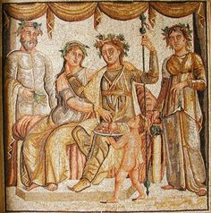 archaicwonder:  The Wedding of Ariadne, Roman mosaic, 2nd century AD Ariadne is the daughter of King Minos of Crete, She helped Theseus slay the Minotaur while he was on the island and then fled with him when he sailed for home. However, they stopped on the island of Naxos and Theseus promptly abandoned her while she slept. It was here where Dionysos found her and made her his wife. There are many versions of Ariadne's mythology in addition to this one. More about Ariadne..