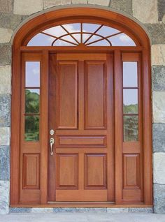 Wooden Doors: Just one of our many custom exterior doors - you i. Front Door Design Wood, Main Door Design, Wooden Door Design, Wood Front Doors, Timber Door, The Doors, Wooden Doors, Windows And Doors, Panel Doors