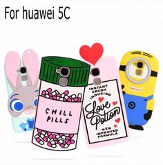 3D Cartoon ZOOTOPIA Love Potion Chill Pills Minion Pink boy tears Water Bottles  soft silicone case cover for Huawei honor 5c