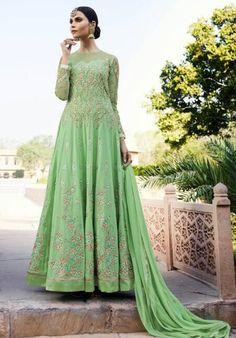 Buy Anarkali Suits and designer Anarkali Salwar Kameez at a great price. For largest collection of Anarkali Suit designs at parisworld. Anarkali Churidar, Long Anarkali, Anarkali Dress, Indian Designer Outfits, Designer Wedding Dresses, Indian Outfits, Bridal Anarkali Suits, Salwar Suits, Pakistani Suits