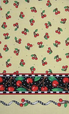 Mary Engelbreit vintage fabric- Cherries on soft light yellow background with border print. $7.00, via Etsy.