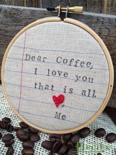 Coffee lover embroidery hoop mothers day unique by NaturesNeedle, $15.00