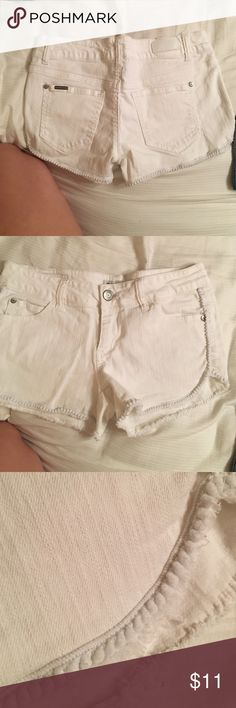 White shorts I don't like white very much I've wore them three times tops, no stains, scruffy edges Celebrity Pink Shorts Jean Shorts