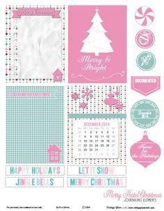 Pastel Christmas Journaling Cards Free Printable Download
