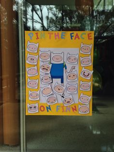 "Created this for my sons first birthday party. Adventure Time Party Game. ""Pin the Face on Finn"""