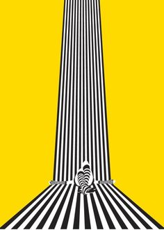 """'Slipping' poster by illustrator Sam Gray... """"a graphic explanantion of the true meaning of vertigo... a feeling that the world is spinning and slipping around you."""""""