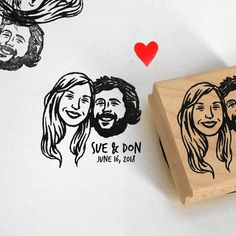 Custom illustrated portrait Wedding favors Save the date custom address stamp gift Unique couples' art / Personalized Gifts for couple