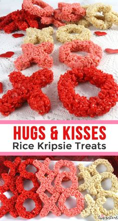 Hugs & Kisses Rice Krispie Treats - these ombre XOXO are adorable, delicious . - Hugs & Kisses Rice Krispie Treats – these ombre XOXO are adorable, delicious and make the perfect - Valentines Day Dinner, Valentines Day Treats, Valentines Day Decorations, Valentines For Kids, Valentine Day Crafts, Holiday Treats, Rice Krispies, Rice Krispie Treats, Valentine Desserts
