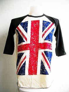 Union jack UK Punk  Rock Art Men Cream 3/4 Jersey T by IbringIt4U, $14.99