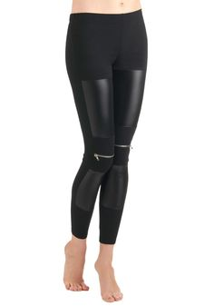 London Is Calling Leggings - Black, Solid, Exposed zipper, Knitted, Long, Girls Night Out