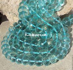 Для украшений ручной работы. Ярмарка Мастеров - ручная работа. Купить Аква кварц  14,16,18 мм шайба микро-огранка  бусины камни д.украшений. Handmade.