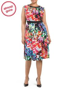 Plus Printed Fit And Flare Dress