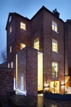 extension & renovation of listed residential building, light wall, brick exterior, by Fraher Architects Brick Architecture, London Architecture, Residential Architecture, Interior Architecture, Glass Brick, Design Exterior, London House, Brick Building, House Extensions