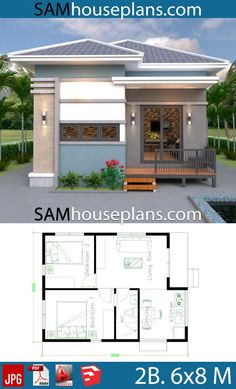 House Plans with 2 Bedrooms Full Plans - Sam House Plans Makale 3 Small Bungalow, Modern Bungalow House, Cottage Style House Plans, Small House Plans, Modern Small House Design, Tiny House Design, Bungalow Floor Plans, House Floor Plans, Affordable House Plans