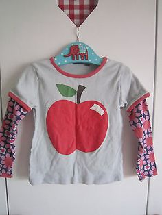 Idee für zu kurze Ärmelstoffstücke ..  Langarmshirt Apfel von Mini Boden Gr. 5-6 | eBay