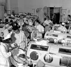Iron lungs during the polio epidemic.