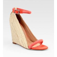 Diane von Furstenberg Suede Espadrille Wedge Sandals