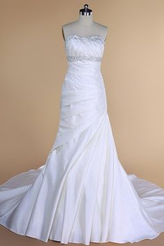 Misses Spring Natural Waist Beading Rectangle Zipper Up Fall Wedding Dress $163.99