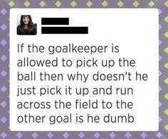 Why am I putting this under funny this should be on board for extreme dumbasses because theres this magical thing called the keeper area or also the goal box which get this LIMITS THE AREA THE GOALIE CAN HOLD THE BALL. I hate dumbasses who think they know everything and they try to prove everyone else wrong