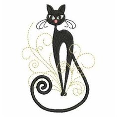 Standing Cat embroidery design