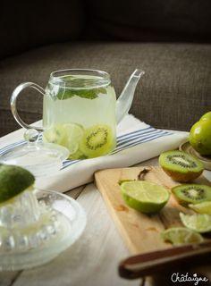 Eau detox citron vert-kiwi-menthe #eauxdétox #citron #menthe