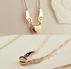 Angel wings and heart necklace