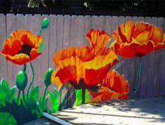 Mural on a garden fence - artist unknown