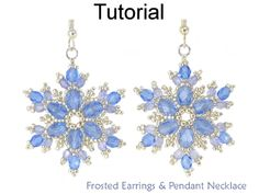 Beaded Frosted Snowflake Earrings and Pendant Necklace Downloadable Beading Pattern Tutorial by Cara Landry with Simple Bead Patterns | Simple Bead Patterns